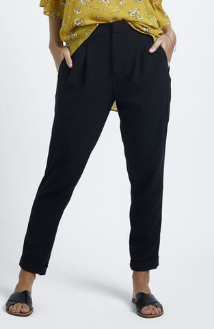 Ultimate Pleat Front Black Pant