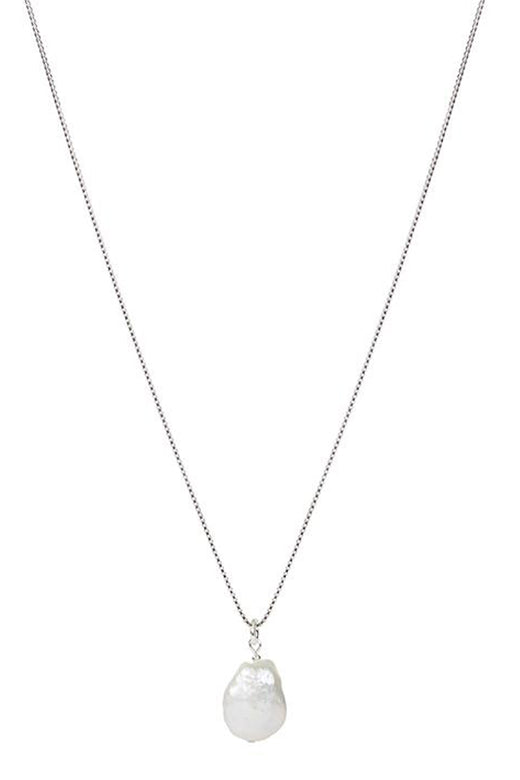925 Fresh Silver Pearl Pendant Necklace