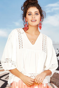 Summer of Love Lace White Cotton V Neck Top