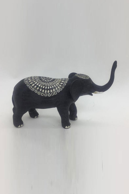 Poly Black Tribal Elephant 16cm