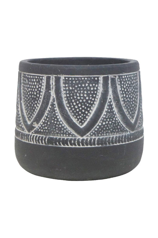 Jedda Black with White Design Planter 13x16cm