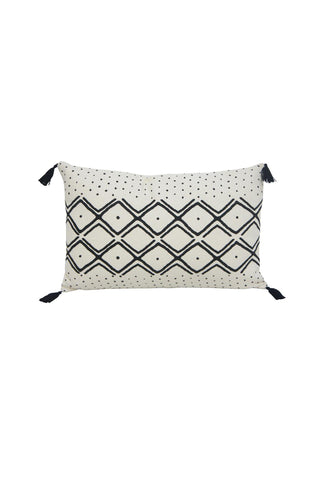 Neha White with Black Design and Tassel Rectangle Cushion 35x55