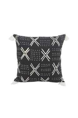 Layla Black with White Design and Tassel Square Cushion 45x45cm