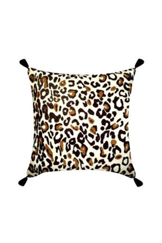 Leopard Print with Black Tassel Square Cushion 45x45cm