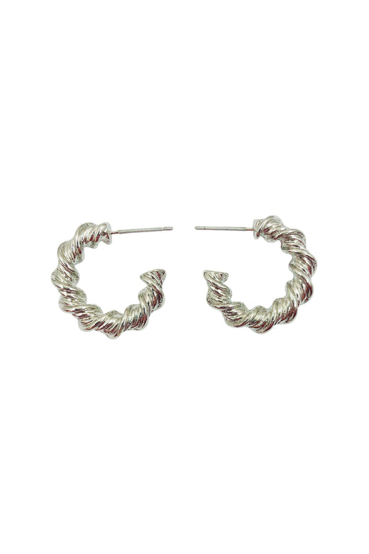 Small Twisted Hoop Earrings Rhodium