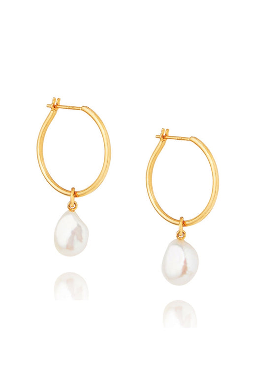 Baroque Pearl Willpower 14k Gold Plate Hoop Earring