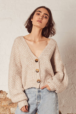 Harper LS Natural Ribbed Button Cardi