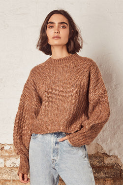 Harper LS Mocha Balloon Sleeve Knit Jumper