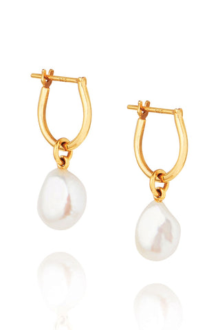 Baroque Pearl Basic 14k Gold Plated Hoop Earring