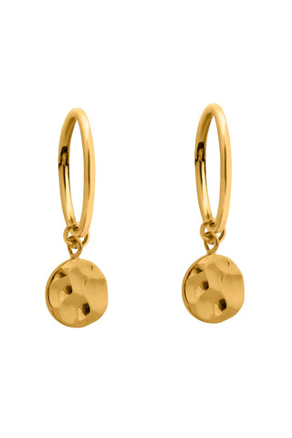 Sleeper Gold Hammered Disc Earring