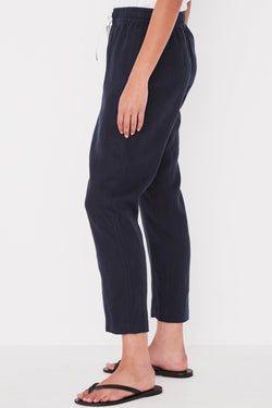 Anya Linen Drop Crotch True Navy Pant