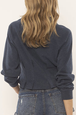 Devon Pin Tuck Ocean Heather Navy Knit