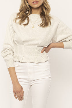Devon Pin Tuck Snow Heather Knit