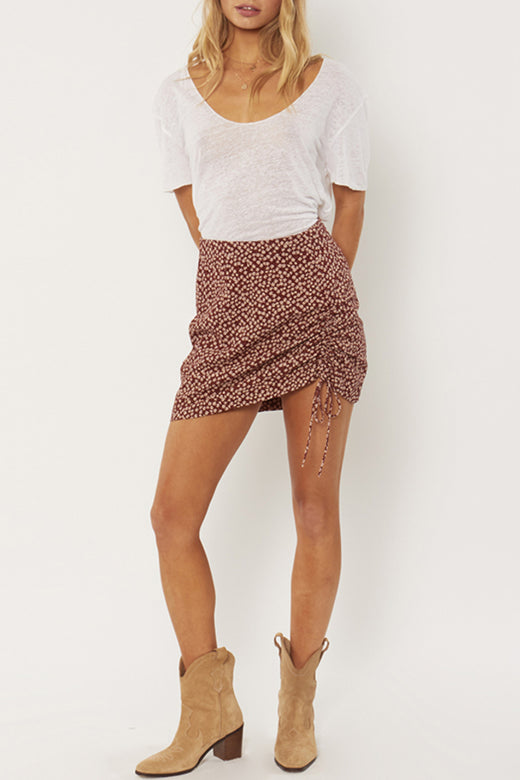 Celeste Brown Floral Mini Skirt