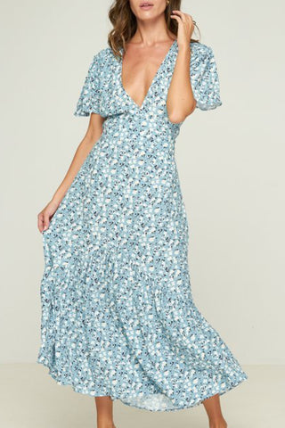 Alder Ruffle SS Powder Blue Floral Midi Dress