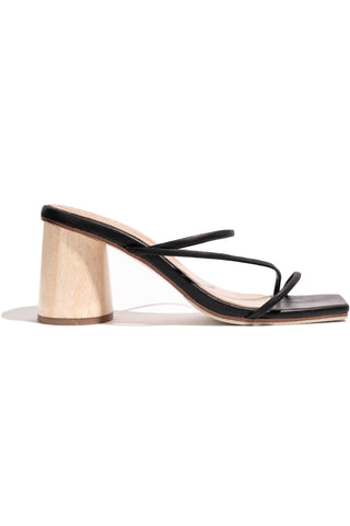 Amore Mio Wooden Heel Strappy Black Leather Sandal