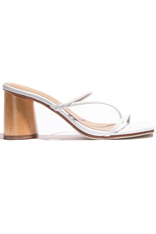 Amore Mio Wooden Heel Strappy White Leather Sandal