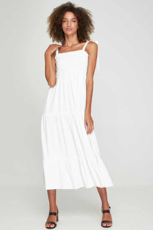Norah White Shirred Tiered Maxi Dress