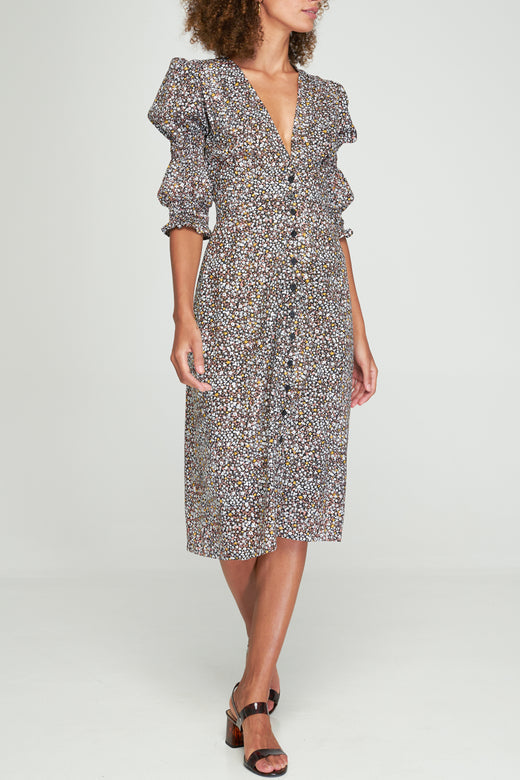 Riley Navy LS Star Floral Button Front Maxi Dress