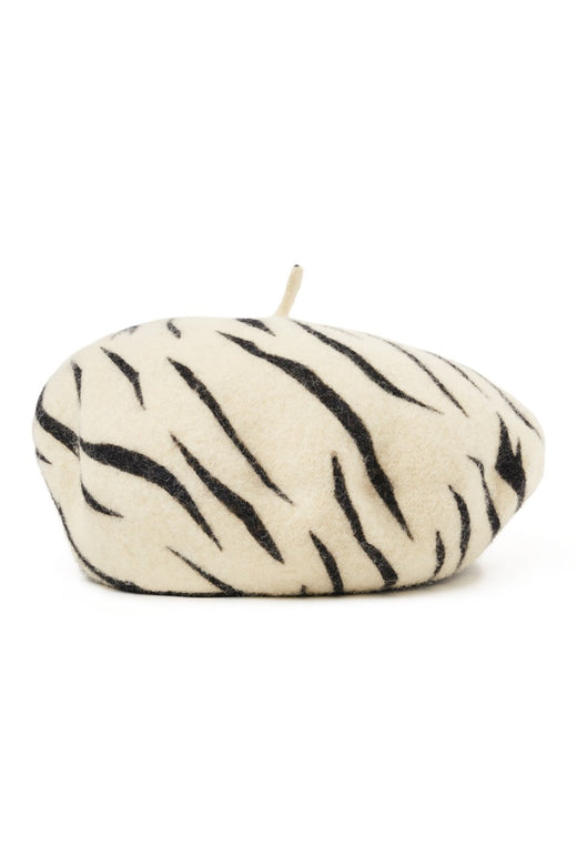 Audrey White Tiger Beret