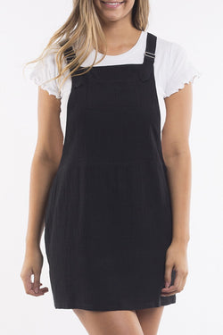Alba Linen Pinafore Black Dress