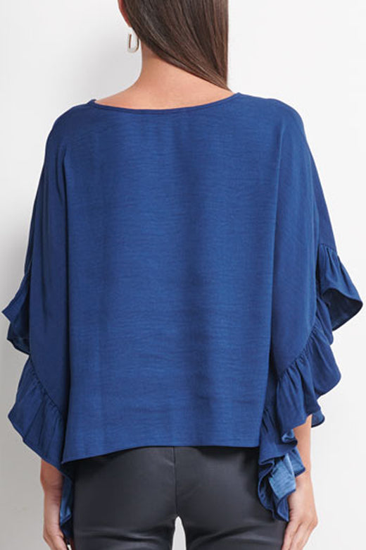 Alba Wide Ruffle Sleeve Navy Top