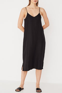 Linen Slip Black Dress