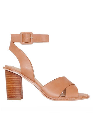 Azala Tan Cross Over Strap with Wooden Block Heel