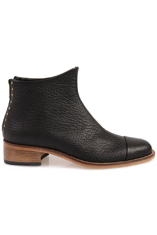 Beau5 Montone Black Leather Natural Sole Ankle Boot