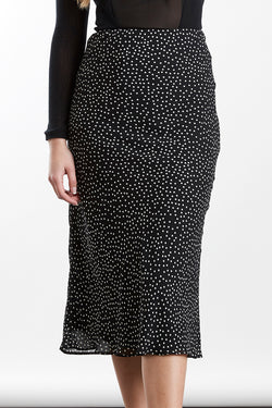 Milan Black Georgette Spot Bias Cut Skirt