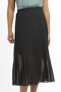 Sunray Sheer Pleated Black Skirt