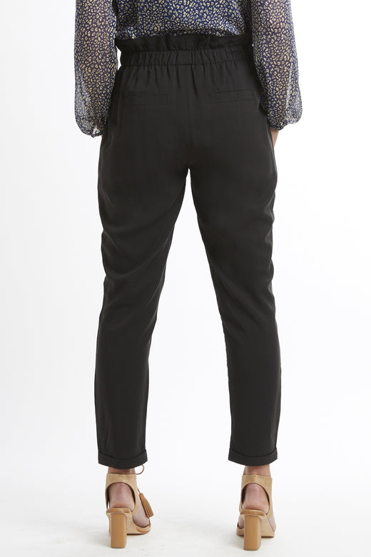 Day and Night Tencel Pleat Front Black Pant