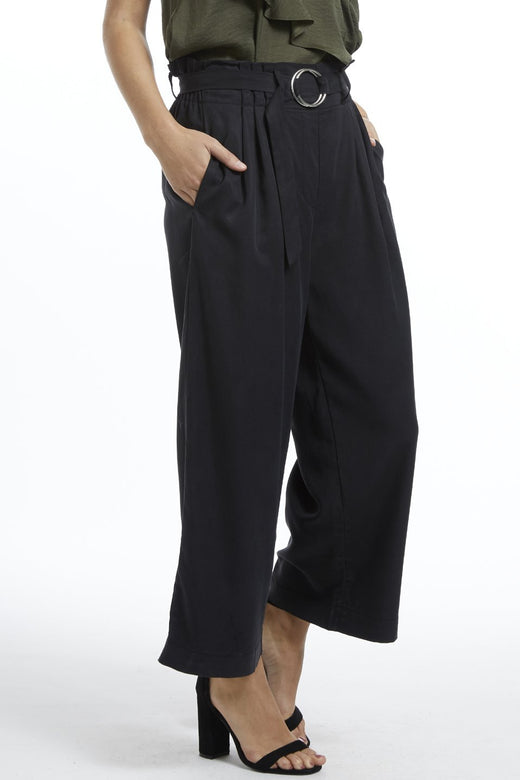 Molly Paper Bag Linen Black Pant