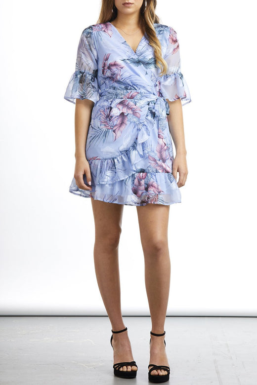 Inspired Floaty Wrap Blue Paradise Dress