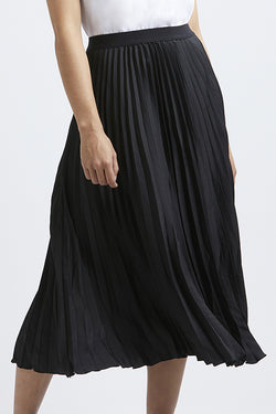 Sunray Black Whisky Washer Satin Pleated Skirt