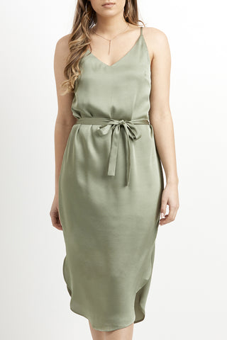 Loyal Midi Slip Sage Sateen Dress