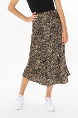 Milan Black Gold Ditsy Bias Cut Midi Skirt
