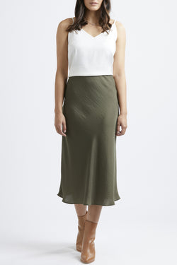 Milan Khaki Satin Bias Cut Skirt