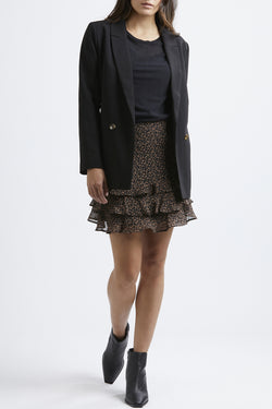 Triple Frill Black Animal Print Mini Skirt