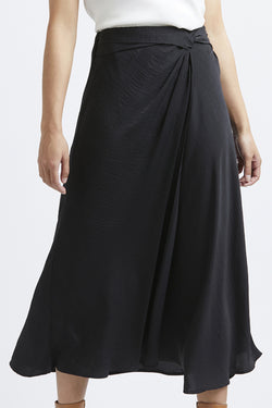Grecian Black Whisky Satin Midi Skirt