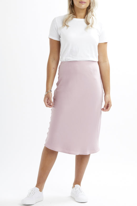 Mila Bias Cut Vintage Pink Satin Skirt