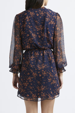 Honey LS Sheer Navy Floral Dress