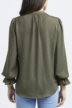 Honey LS Khaki Satin Blouse
