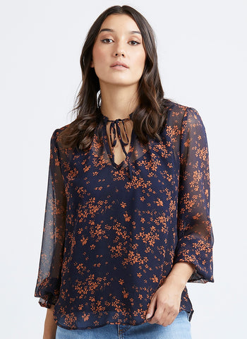 Honey LS Sheer Navy Floral Blouse