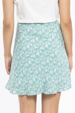 Loyal Sage Floral Mini Bias Cut Skirt