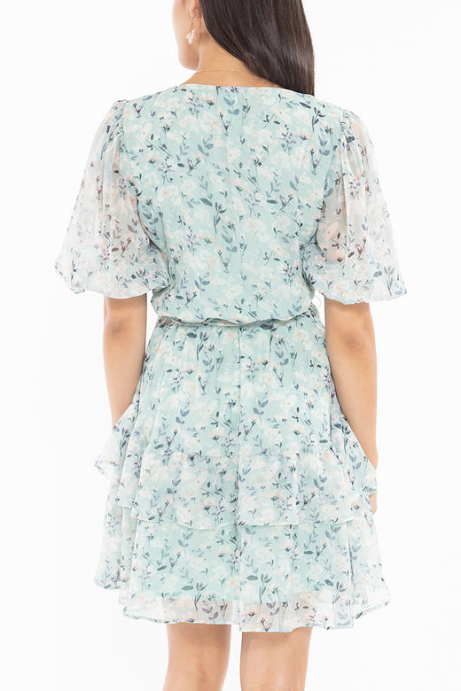 Zesty Mint Floral SS Frill Hem Mini Dress