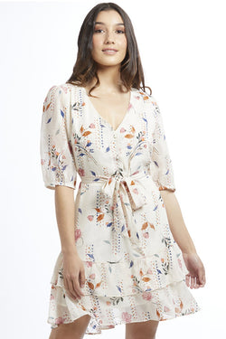 Zesty Ivory Geo Floral SS Frill Hem Mini Dress