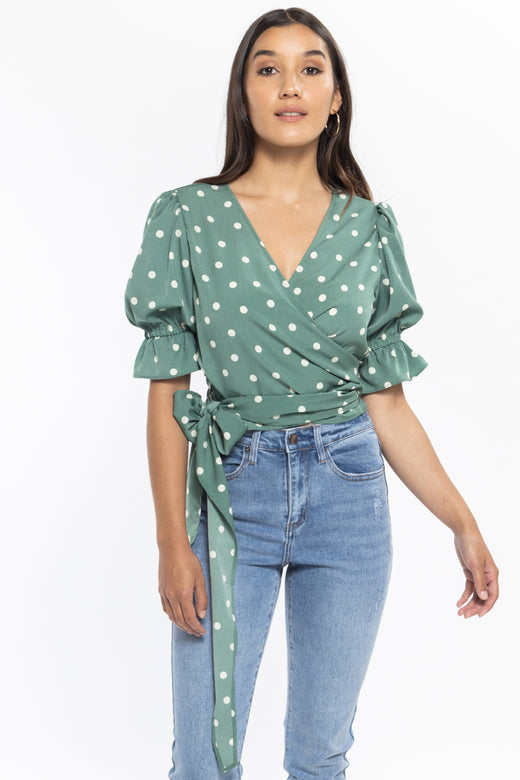 Graceful Sage Spot SS Wrap Top