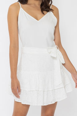 Discovery White Broderie Anglaise Frill Mini Skirt