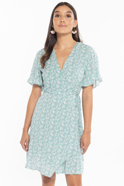 Wonderland Sage Floral Flutter Sleeve Mini Wrap Dress
